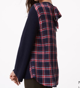 aa plaid back sweater